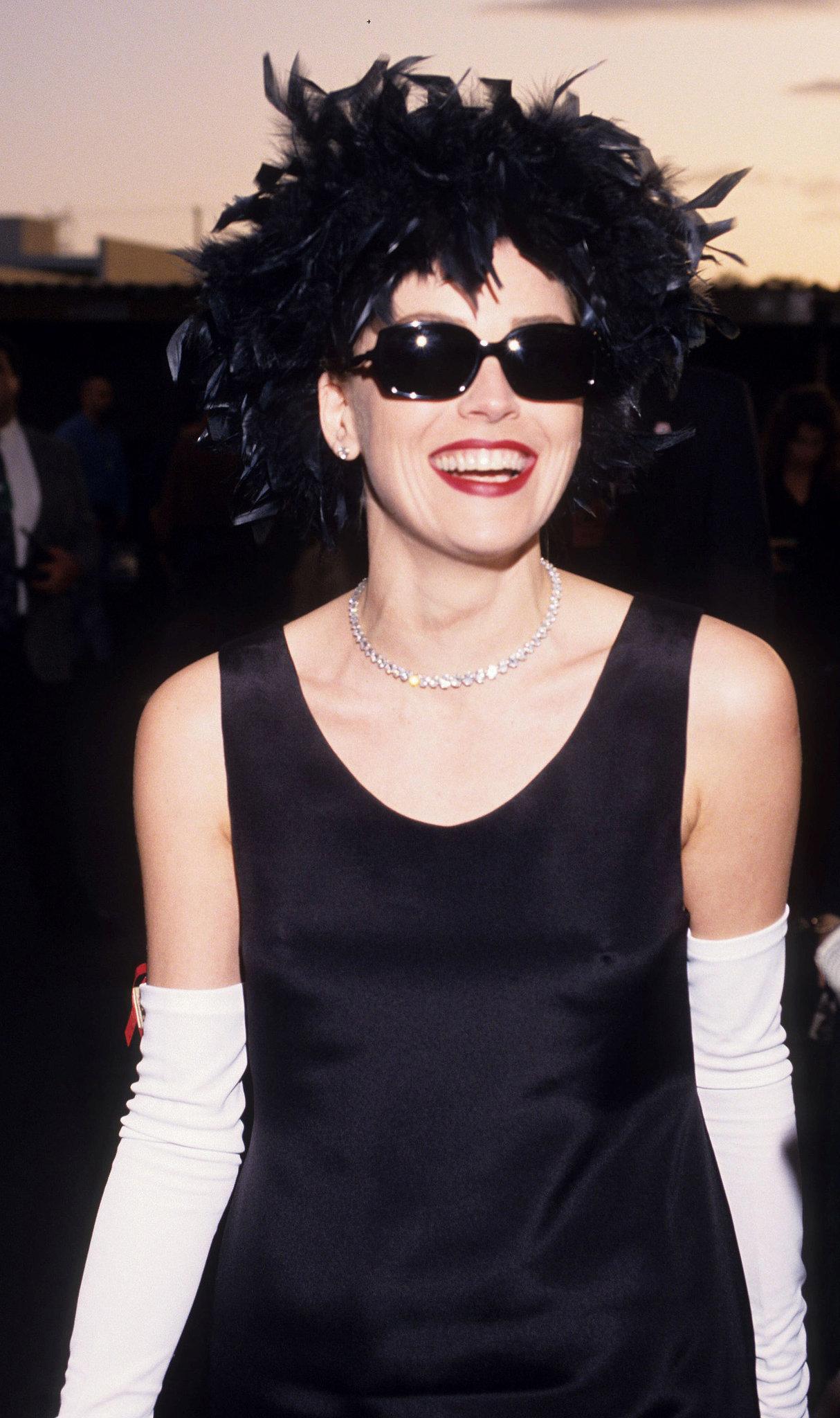 Sharon Stone wore sunglasses at night.