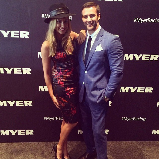 Myer ambassadors Laura Dundovic and Kris Smith were looking sharp at Golden Slipper today. Source: Instagram user myer