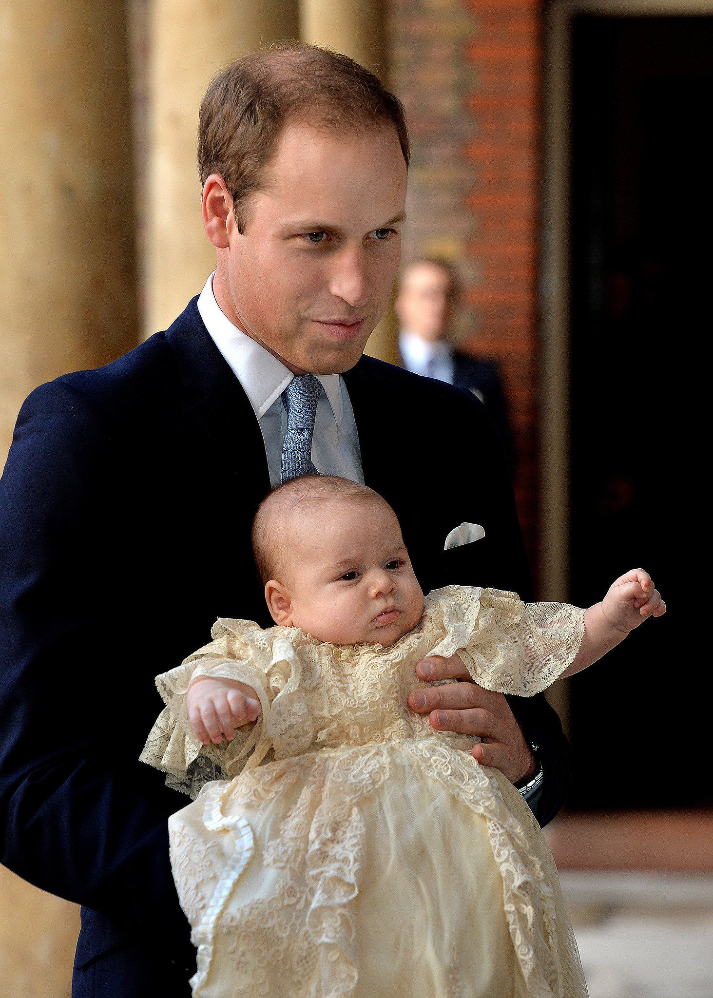On Oct. 23, 2013, George had his second photo op, outside St. James's Palace in London, when he attended his christening.