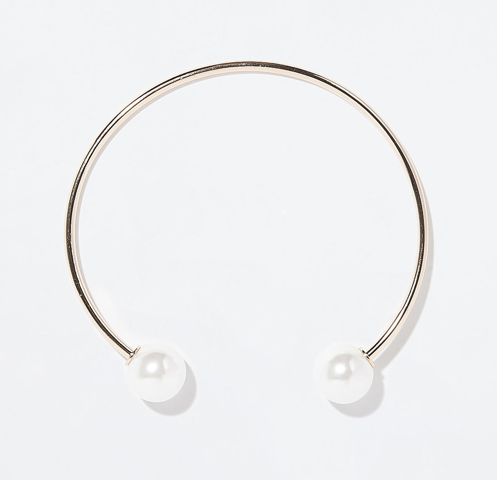 Zara thin metal choker with pearl balls ($20)