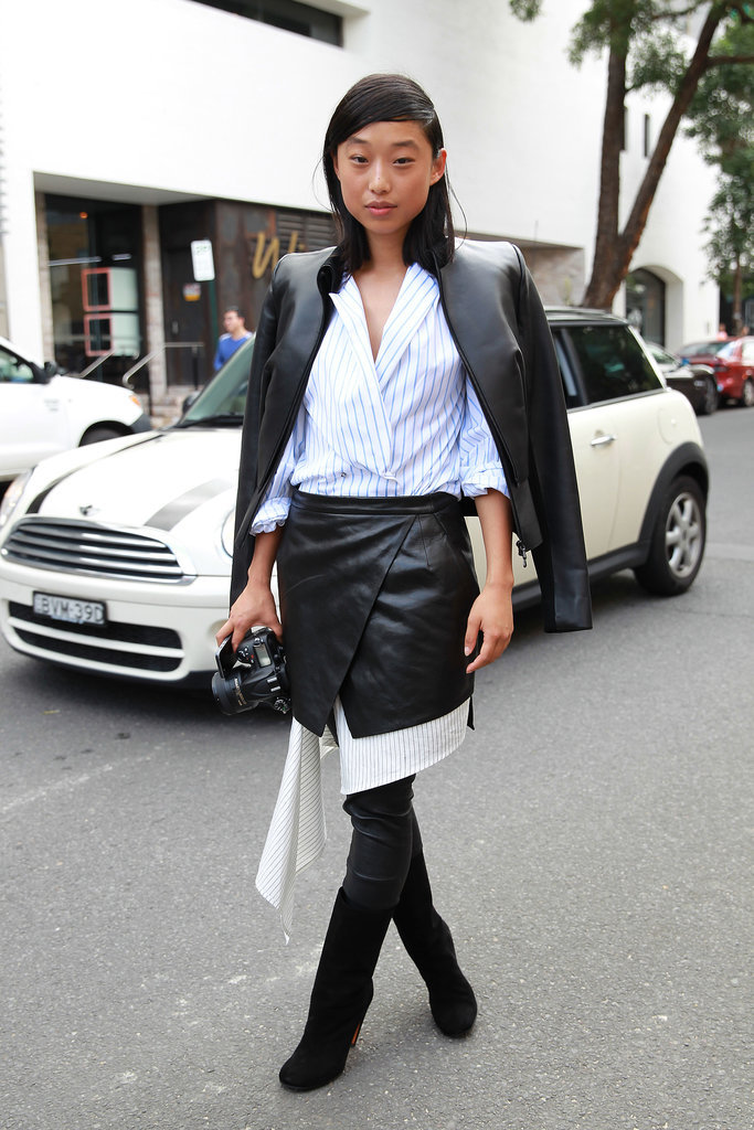 Margaret Zhang's Dion Lee look is a lesson in pairing stripes and leather.