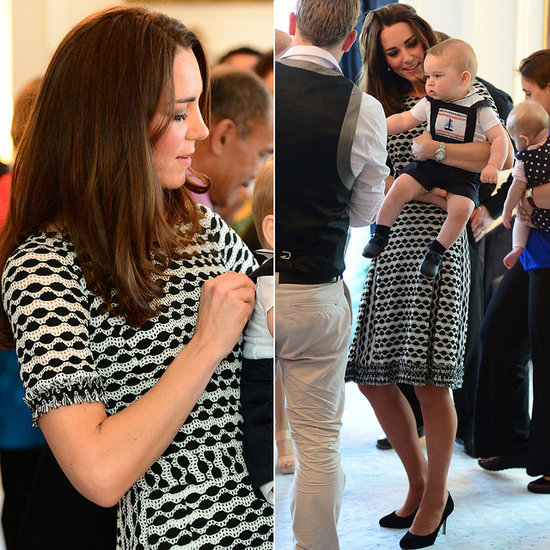 Kate Middleton Wearing Tory Burch Black and White Dress