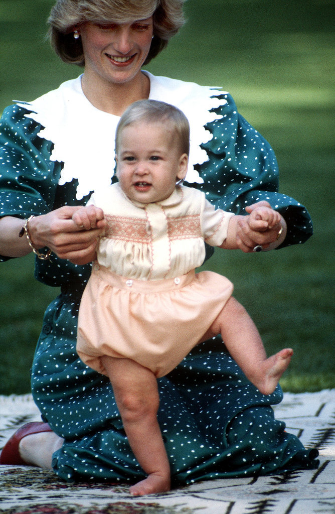 Here is Prince William at 9 months in Australia with his mother, Princess Diana.