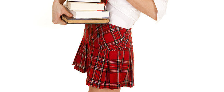 7. Schoolgirl Skirts  Starting with Clueless and culminating with Britney Spears's . . . Baby One More Time, schoolgirl skirts definitely had a big moment. But while we love plaid, the grown-up closet should do it in a skinny trouser, pencil skirt, or silk blouse. No pleats or sky-high hemlines, please. 8. Sorority Letters  For a certain type of girl (and school), Greek letters are one of the top collegiate accessories. While it's tempting to slip back into the happy days you associate with them, be warned: nothing's more off-feeling than seeing someone who's clearly past college sporting a sweatshirt or tee.