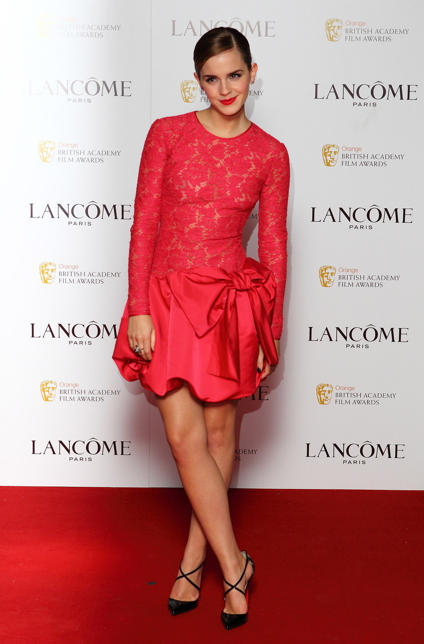 Emma Watson in Red Lace Valentino at 2012 Pre-BAFTA London Party
