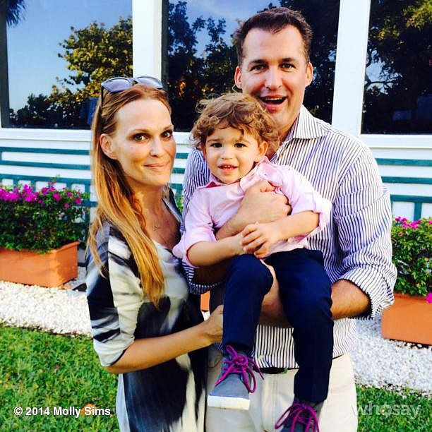 Molly Sims took a moment to appreciate her family — son Brooks and husband Scott Stuber. Source: Instagram user mollybsims