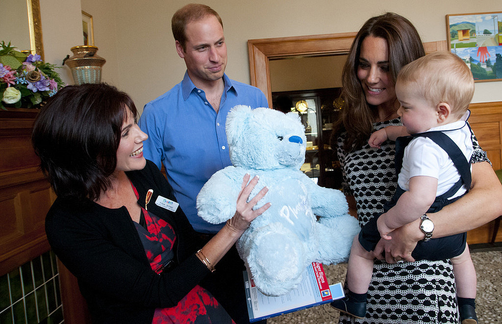 Prince William couldn't hide his affection for his family when he watched Kate and 9-month-old Prince George accept a blue plush toy bear at Government House in Wellington, New Zealand, in April 2014.
