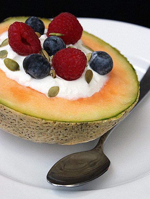 Greek Yogurt in a Melon Bowl