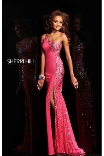 2014 Sherri Hill 21152 One Shoulder Fuchsia Long Prom Dress