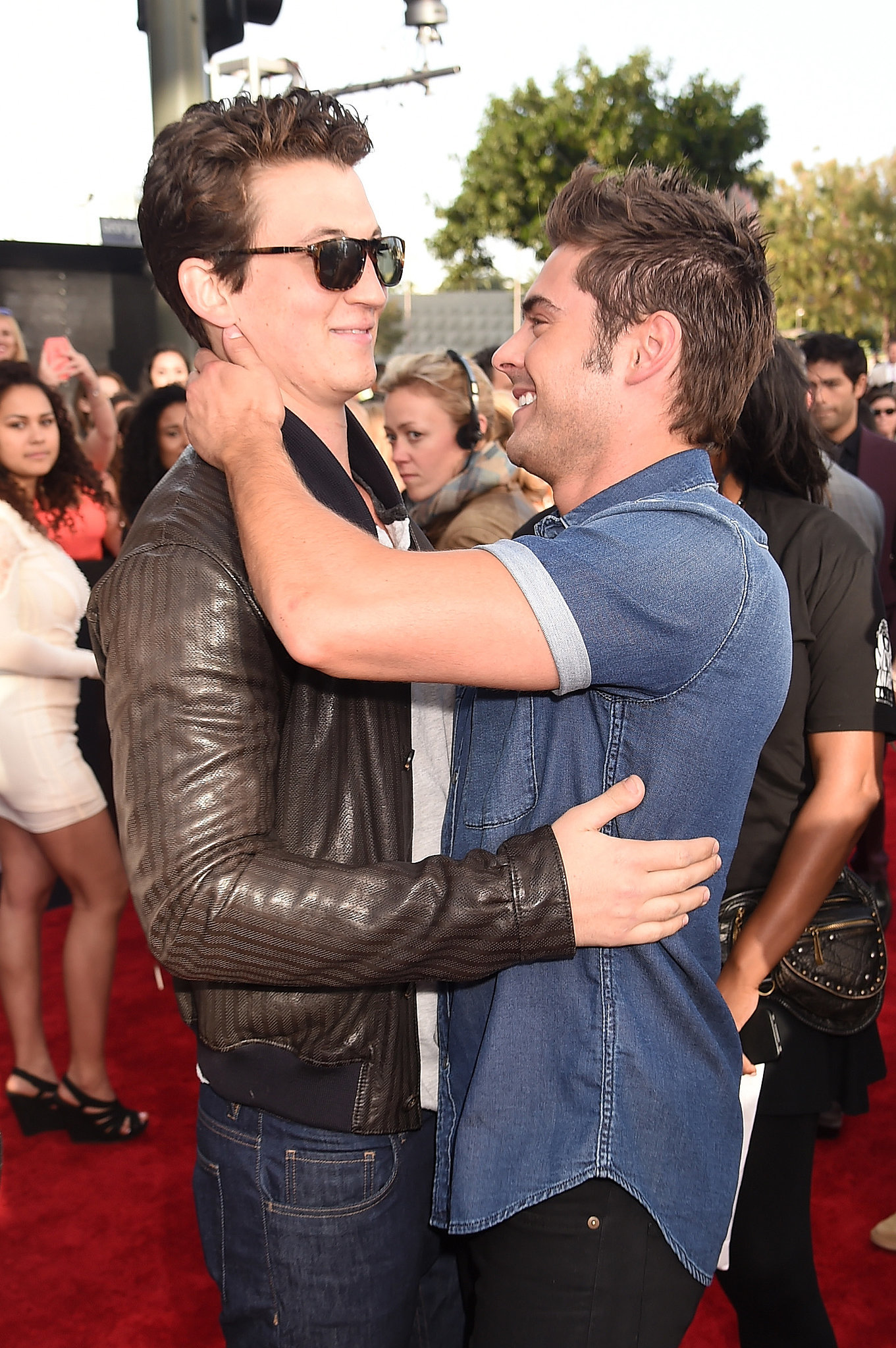 Zac Efron looked happy to see Miles Teller.