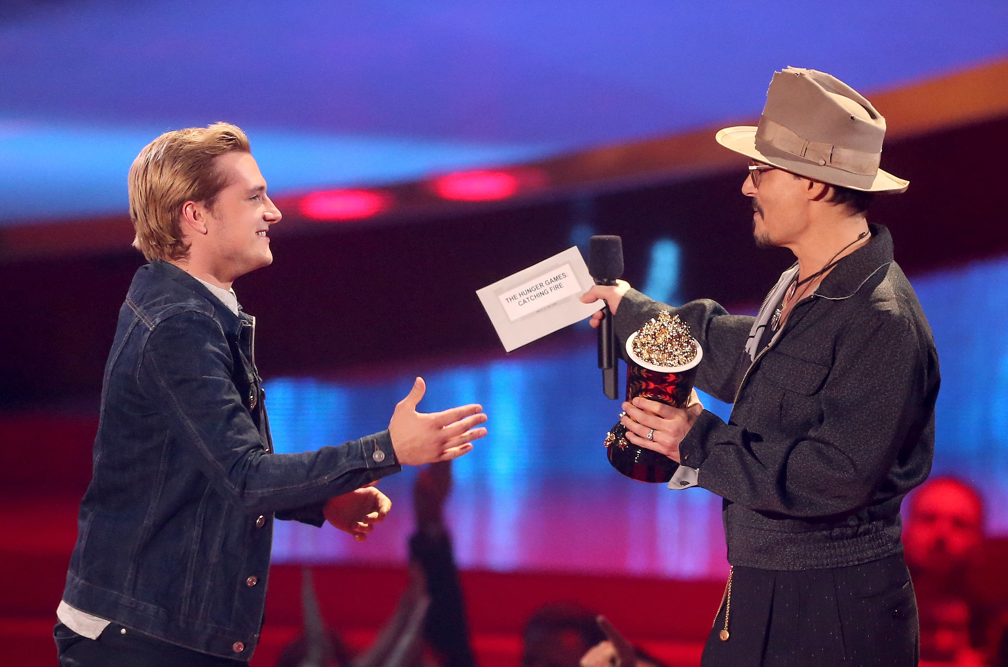The night ended with this moment between Johnny Depp and Josh Hutcherson.
