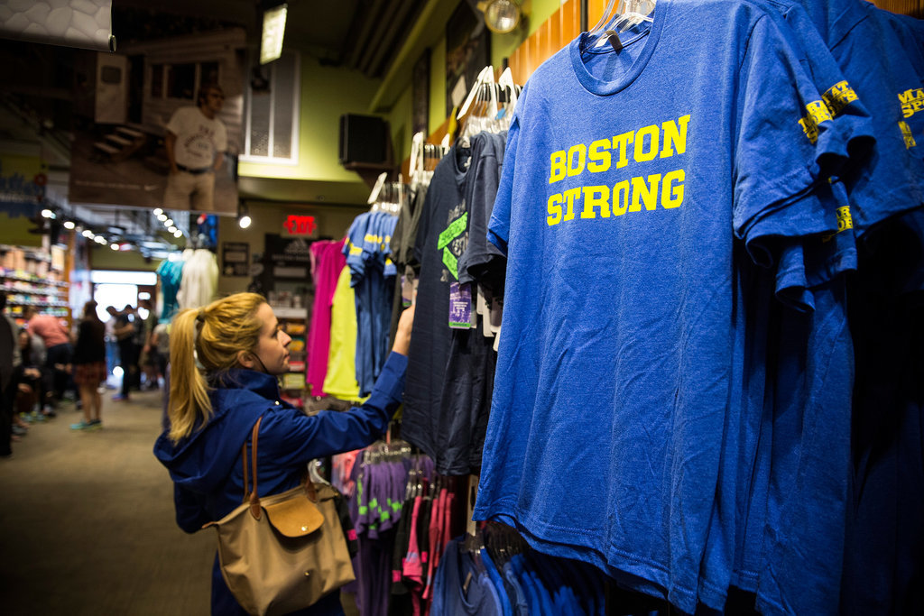 """""""Boston Strong"""" t-shirts were on sale at Marathon Sports, a running store located near the site of the bombing."""
