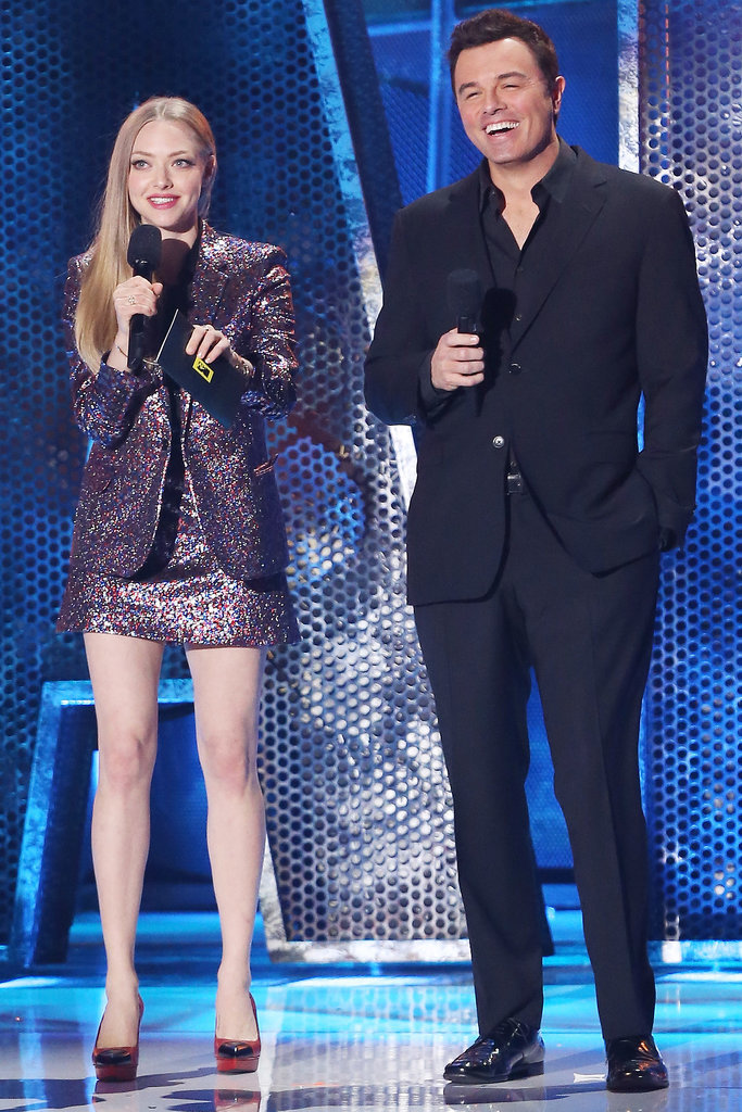 Seth MacFarlane and Amanda Seyfried had some teleprompter trouble, but they were still pretty cute up there. The two will be seen in MacFarlane's next live-action film, A Million Ways to Die in the West, and Seyfried has signed on to star in Ted 2.
