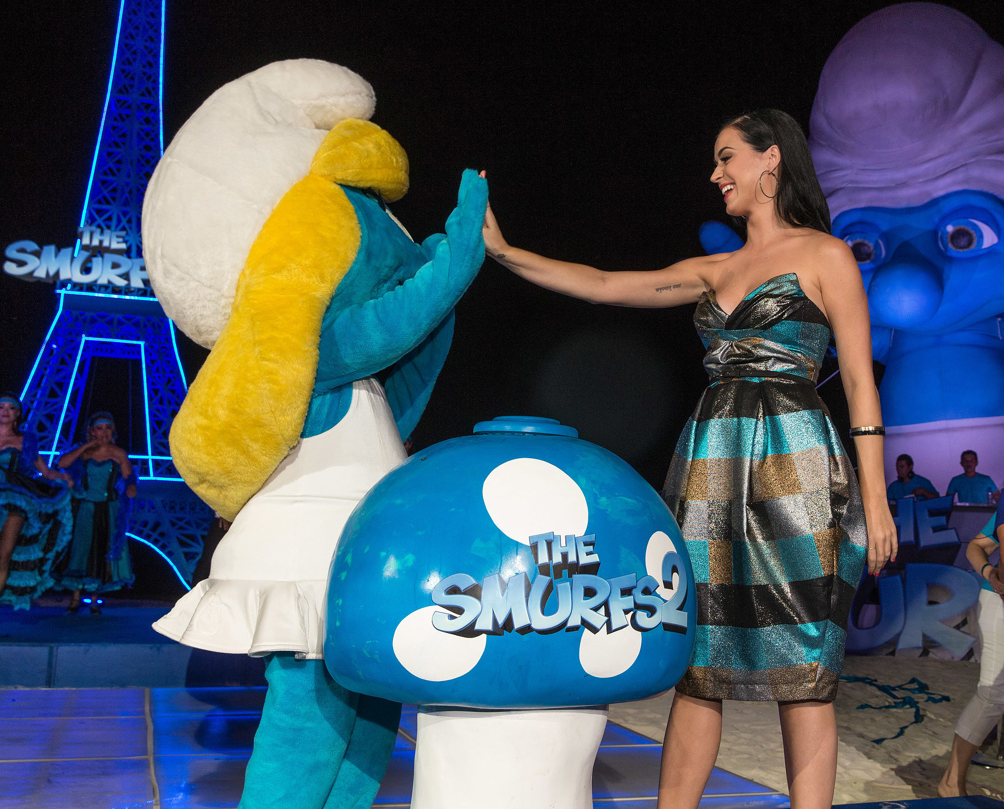 Katy Perry shared a moment with Smurfette at the Smurfs 2 premiere in Mexico in April 2013.