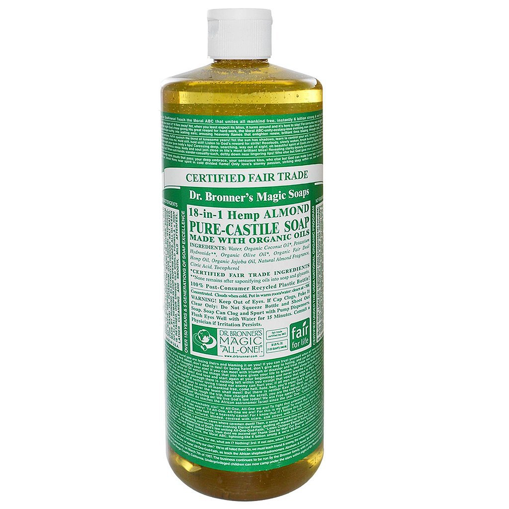 dr bronner 39 s almond liquid castile soap 23 natural beauty products our editors actually use. Black Bedroom Furniture Sets. Home Design Ideas