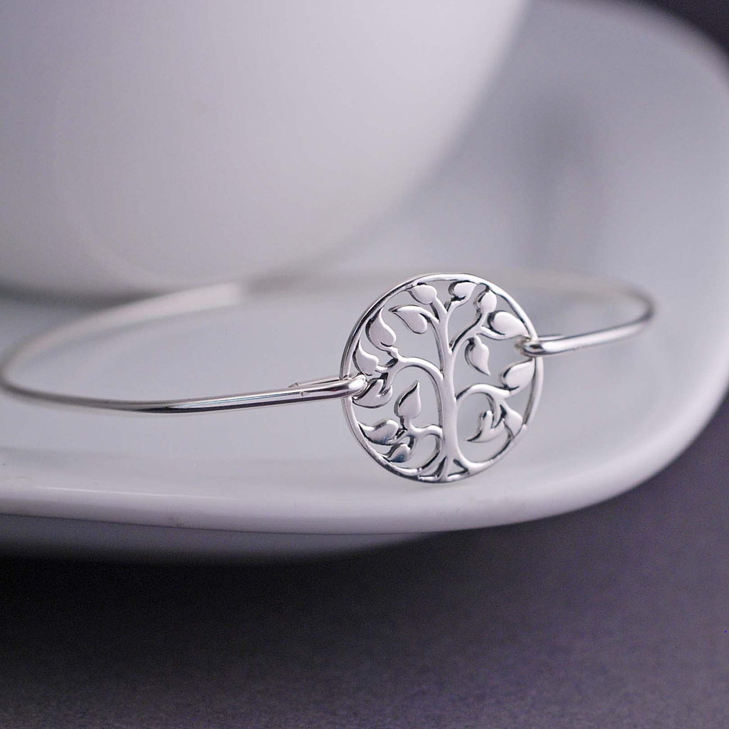 Recycled Sterling Silver Tree Bangle Bracelet