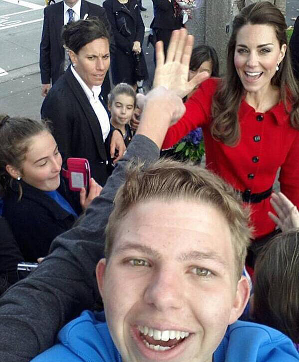 One lucky boy got a great selfie with Kate Middleton when she visited Christchurch, New Zealand, in April 2014. Source: Twitter user Quifhair