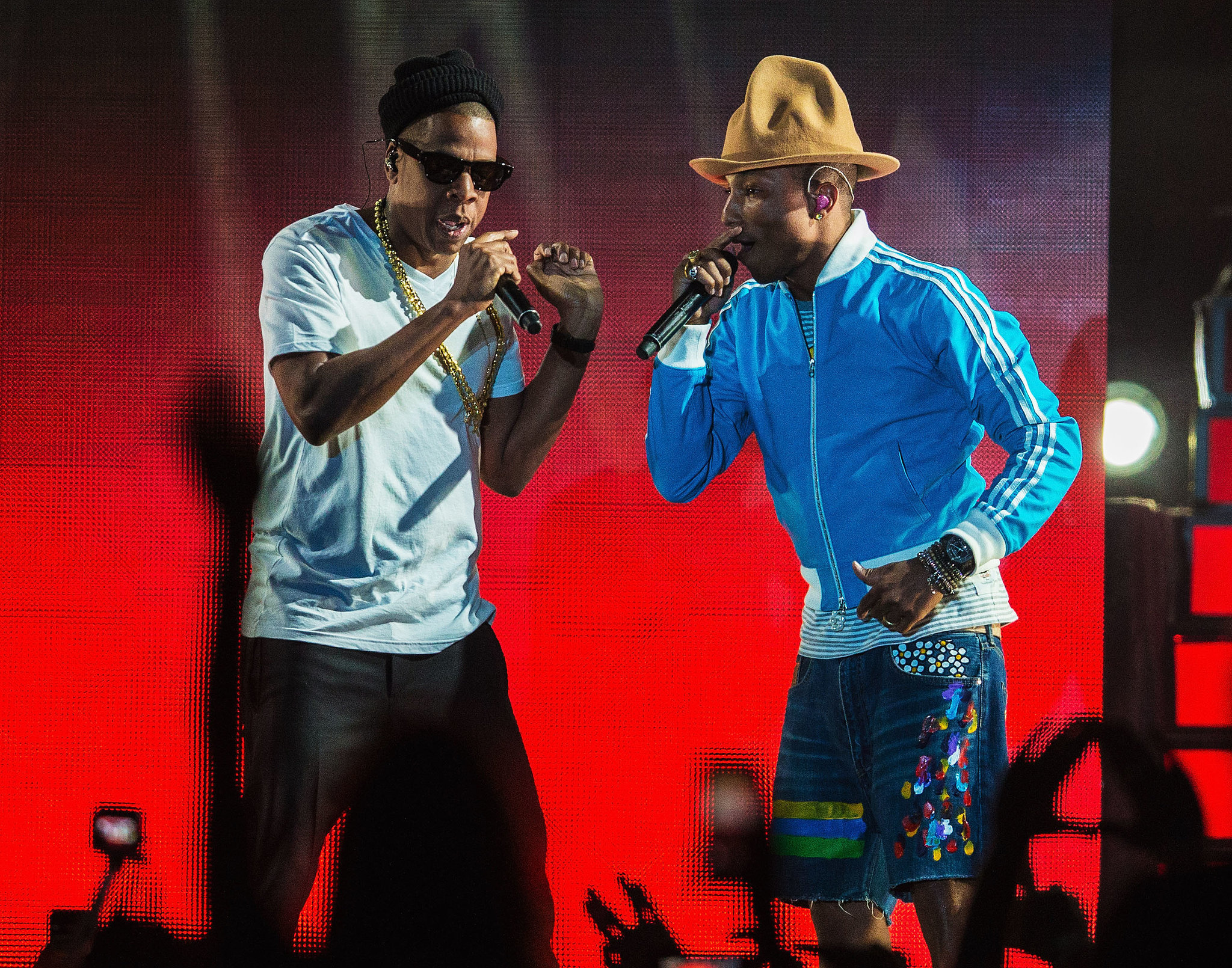 """Jay Z and Pharrell performed a medley of hits, including """"Frontin',"""" """"Excuse Me Miss,"""" """"La-La-La,"""" and """"I Just Wanna Love U (Give It 2 Me)."""""""