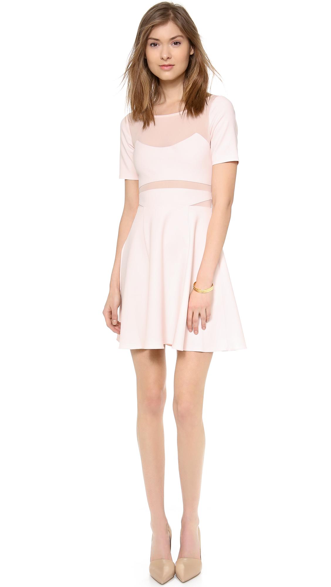 Elizabeth and James Selena light pink short-sleeve dress with sheer inserts ($365)