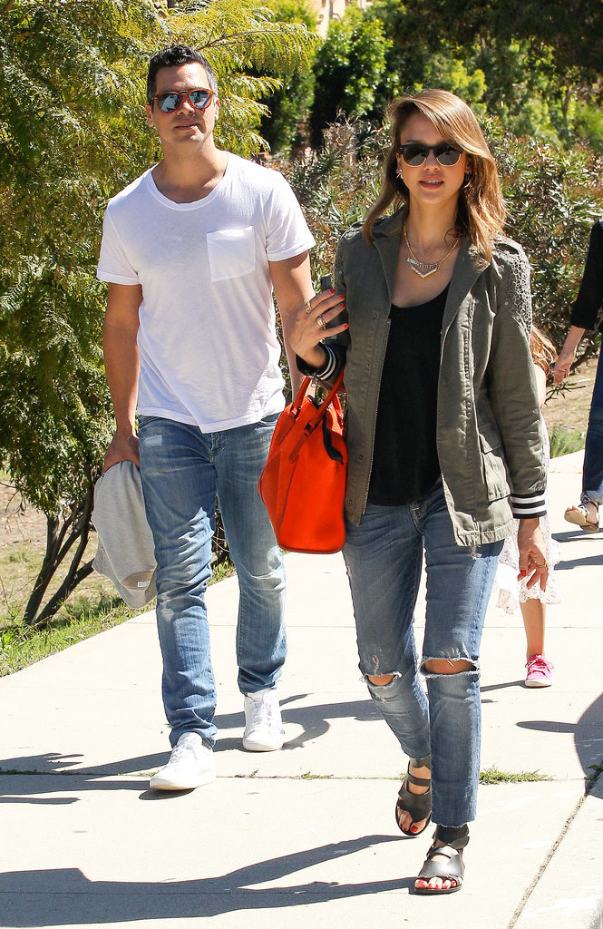 Jessica Alba in Pam & Gela Military Jacket