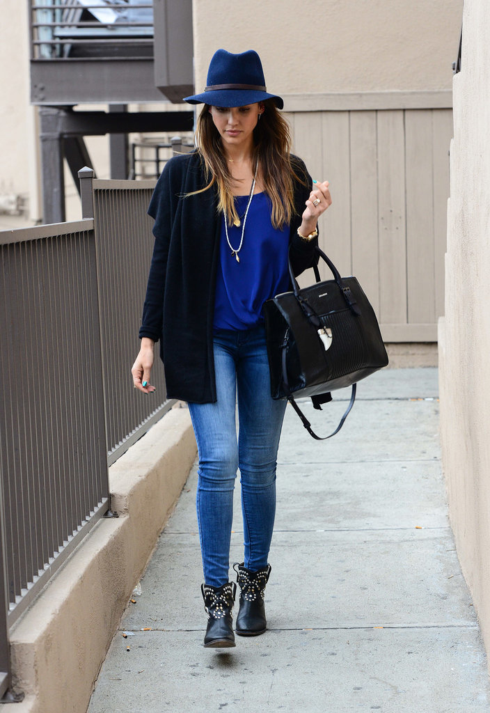 Jessica Alba in Studded Isabel Marant Boots
