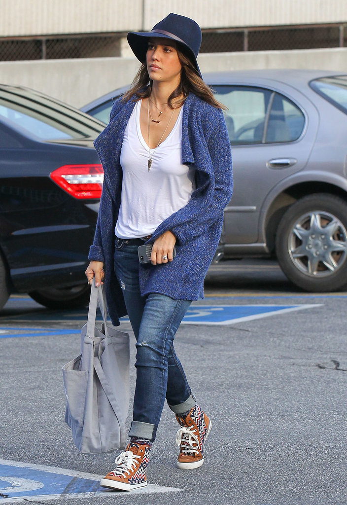 Jessica Alba in Printed Tory Burch Sneakers and a Janessa ...