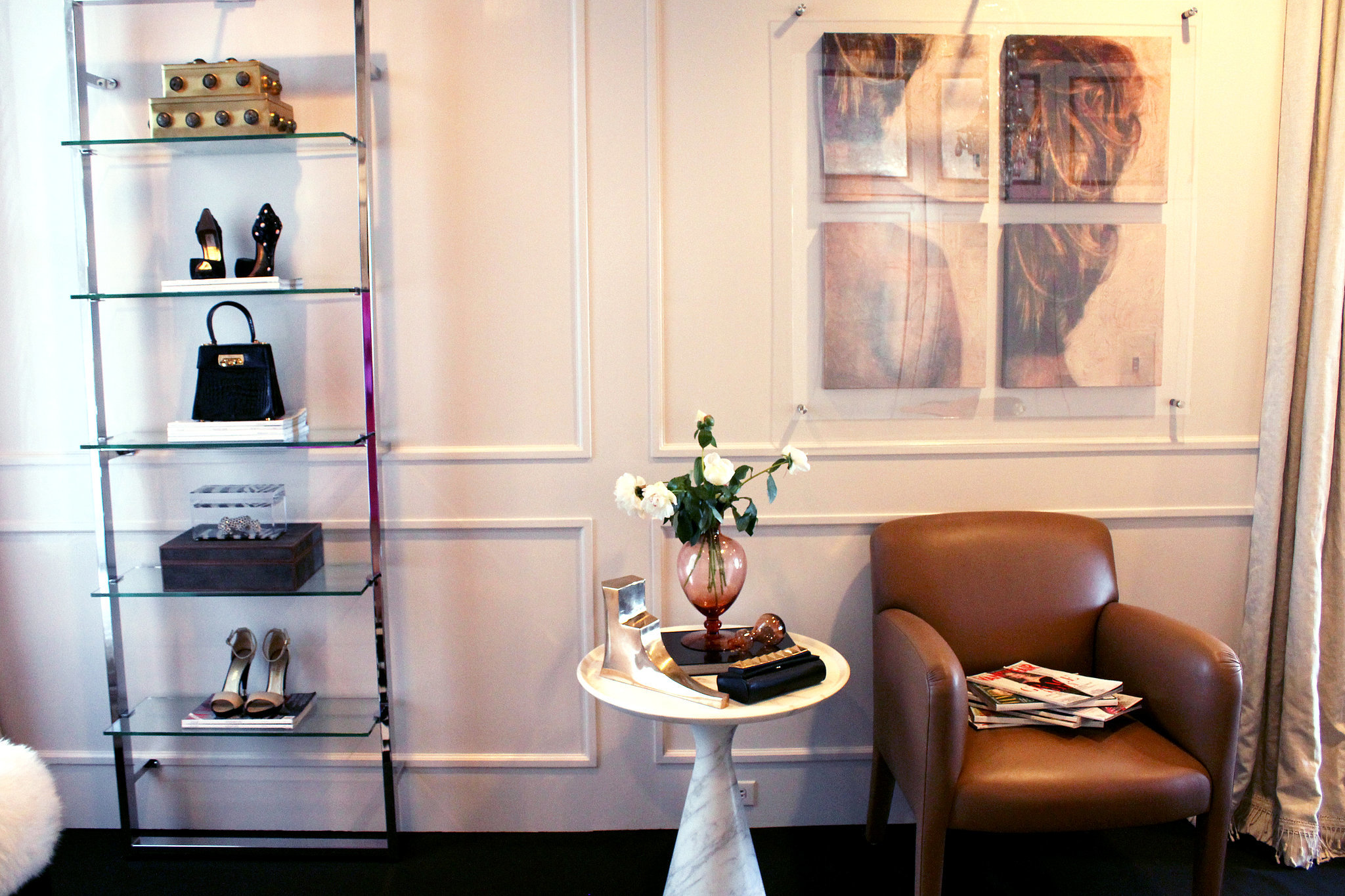 We love her idea of using shelving to show off accessories like shoes and handbags.