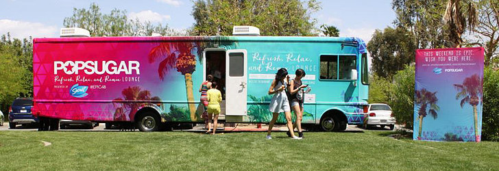 The POPSUGAR Lounge stopped at the Riviera Resort & Spa VIP Pool Party with Social Club. Source: Jes Workman
