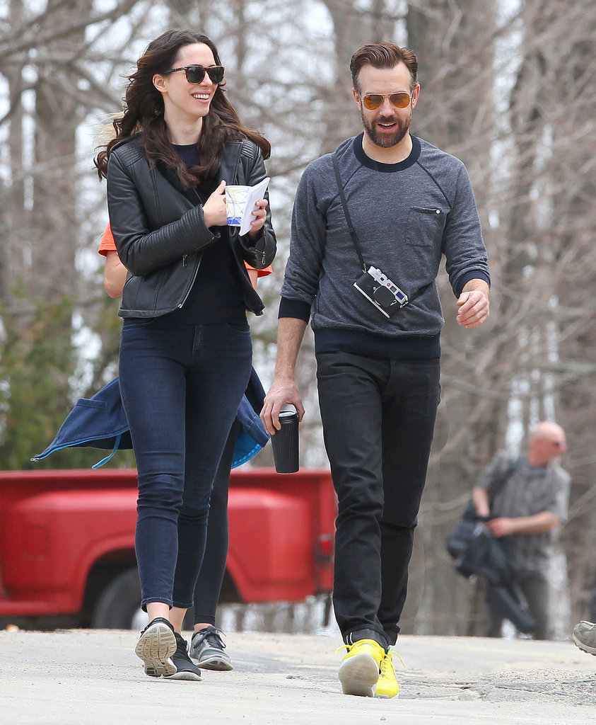 On Tuesday, Jason Sudeikis and Rebecca Hall shared a laugh on the set of Tumbledown in Boston.