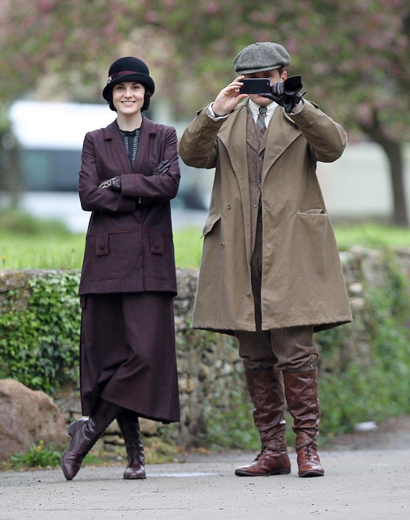 Michelle Dockery and Allen Leech filmed scenes for the upcoming season of Downton Abbey in London on Thursday.