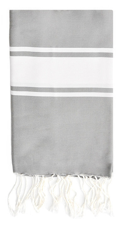 For a unique gift she hasn't likely received, consider this striped towel ($42). It can be used as a beach or bath towel, picnic blanket, tablecloth, wrap, and throw.