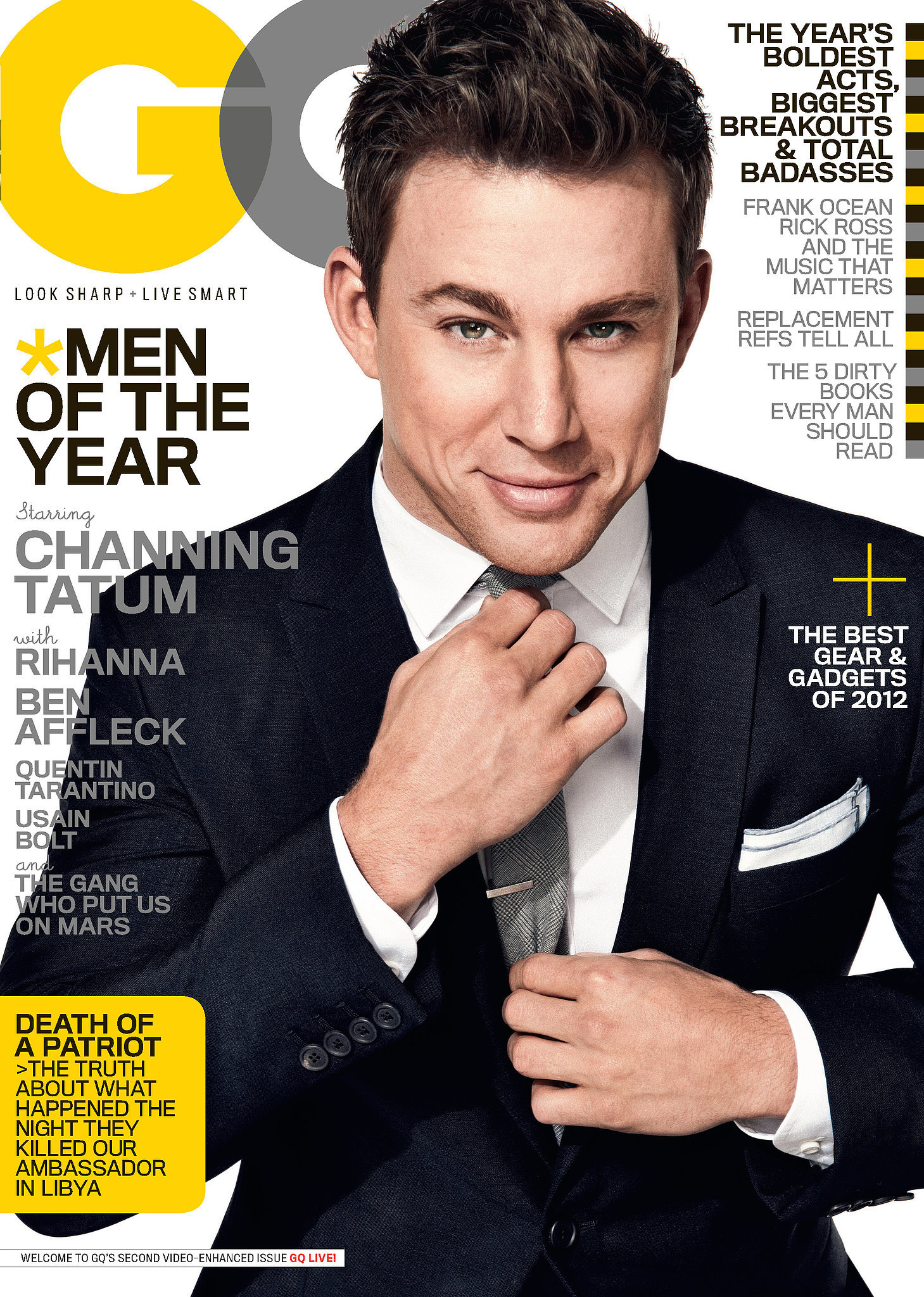 Channing posed for the cover of GQ's December 2012 issue. Source: GQ