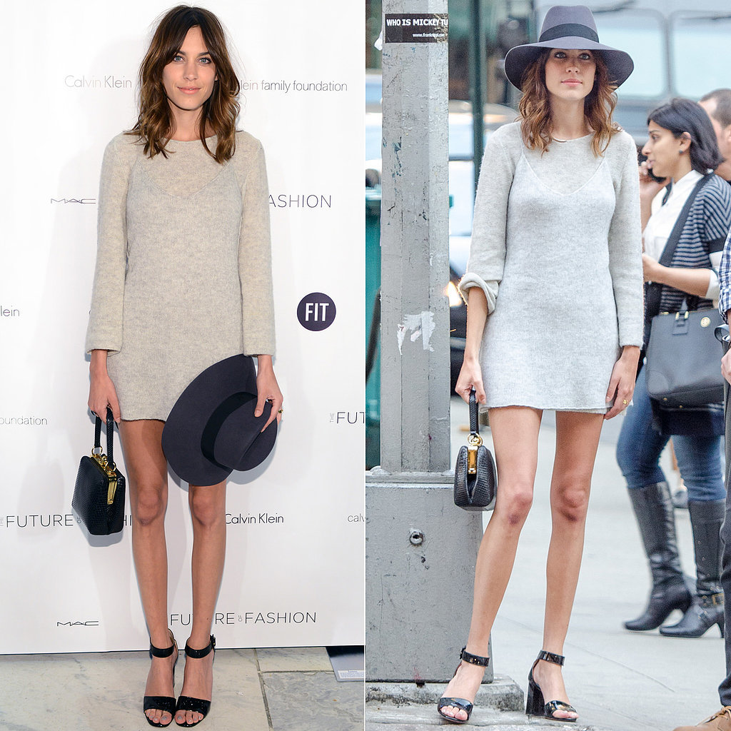 Where To By Alexa Chung 39 S Style Online Grey Sweater Dress