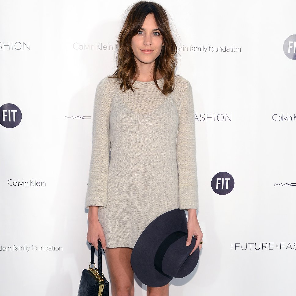Alexa Chung Gray Sweater Dress