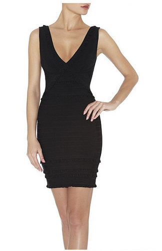 V-Neck Tiered-Ruffle Bandage Dress