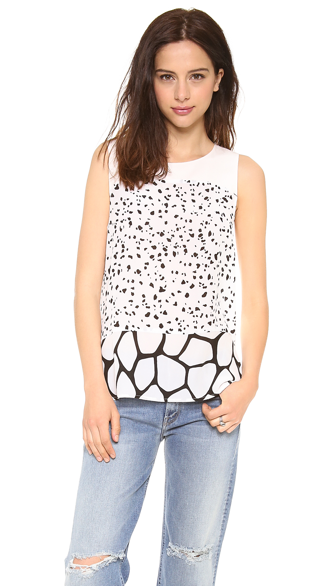 Club Monaco Printed Sleeveless Blouse