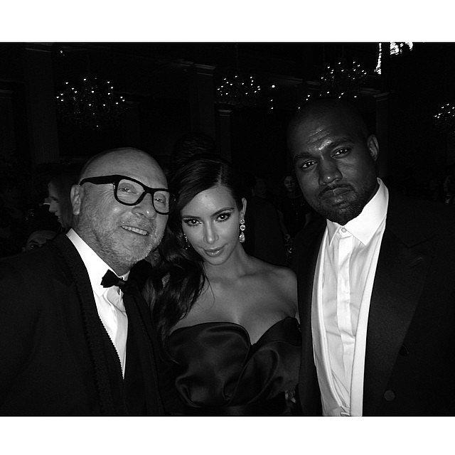 Kim and Kanye also nabbed a photo with one half of Dolce & Gabbana, designer Domenico Dolce.  Source: Instagram user kimkardashian