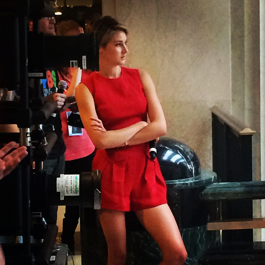 Shailene Woodley is slaying it in a hot red jumpsuit for the #tfiosoh stop of the #tfiostour. With keds of course! #dftba Source: Instagram user popsugar
