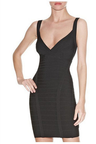 Black Open Back Bandage Dress