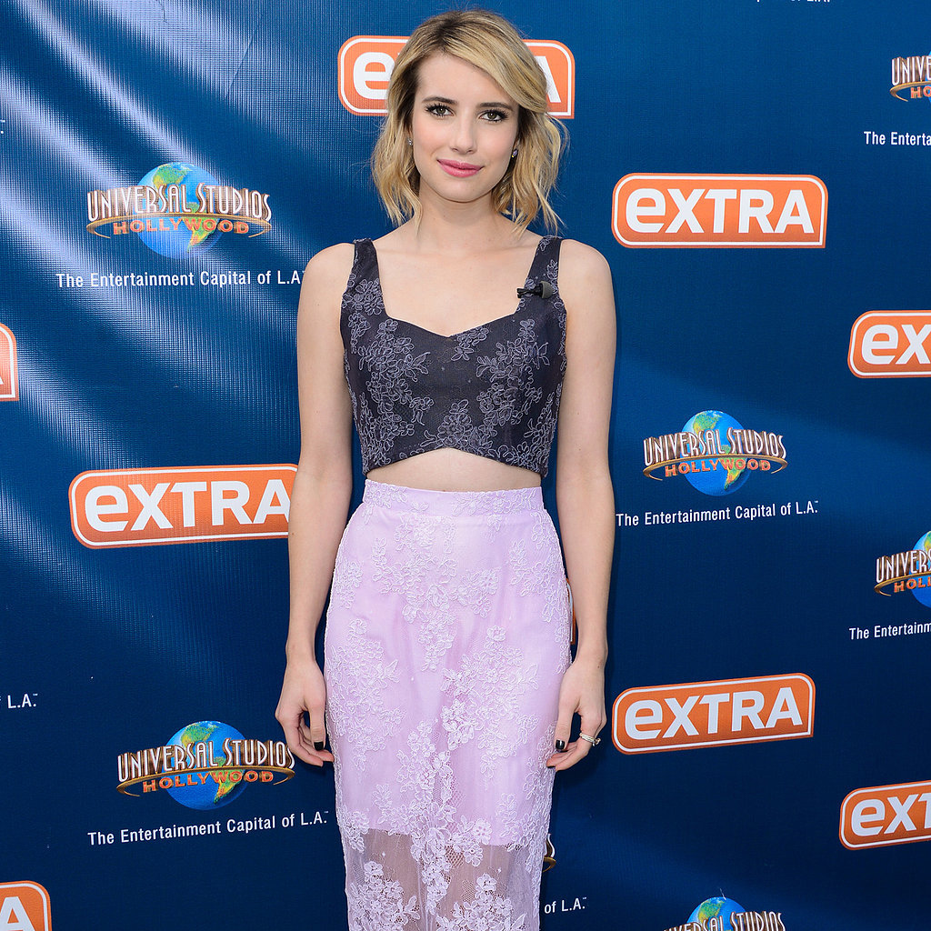 Emma Roberts in a Crop Top and Lace Pencil Skirt