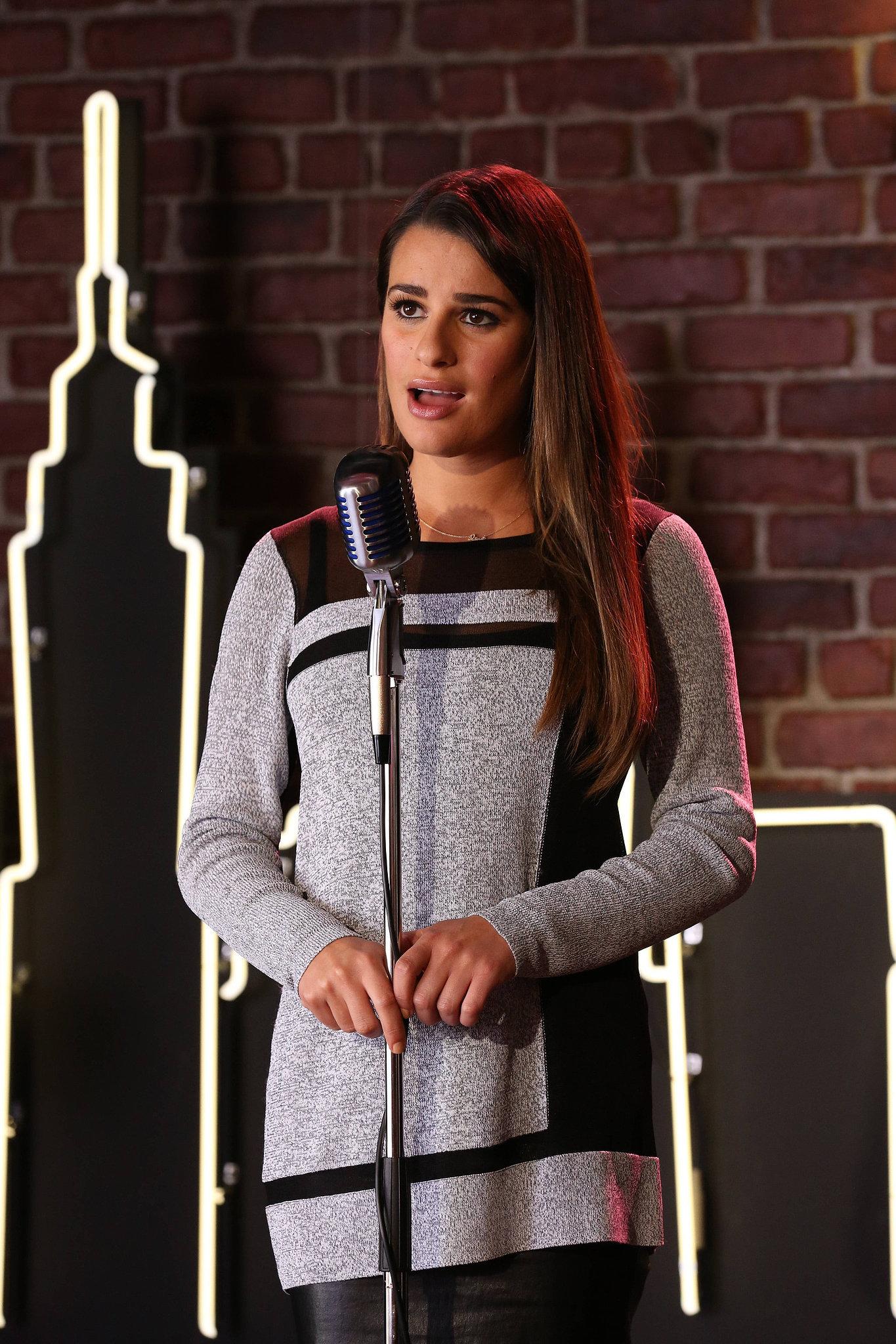 Rachel (Lea Michele) performs on the season finale of Glee.