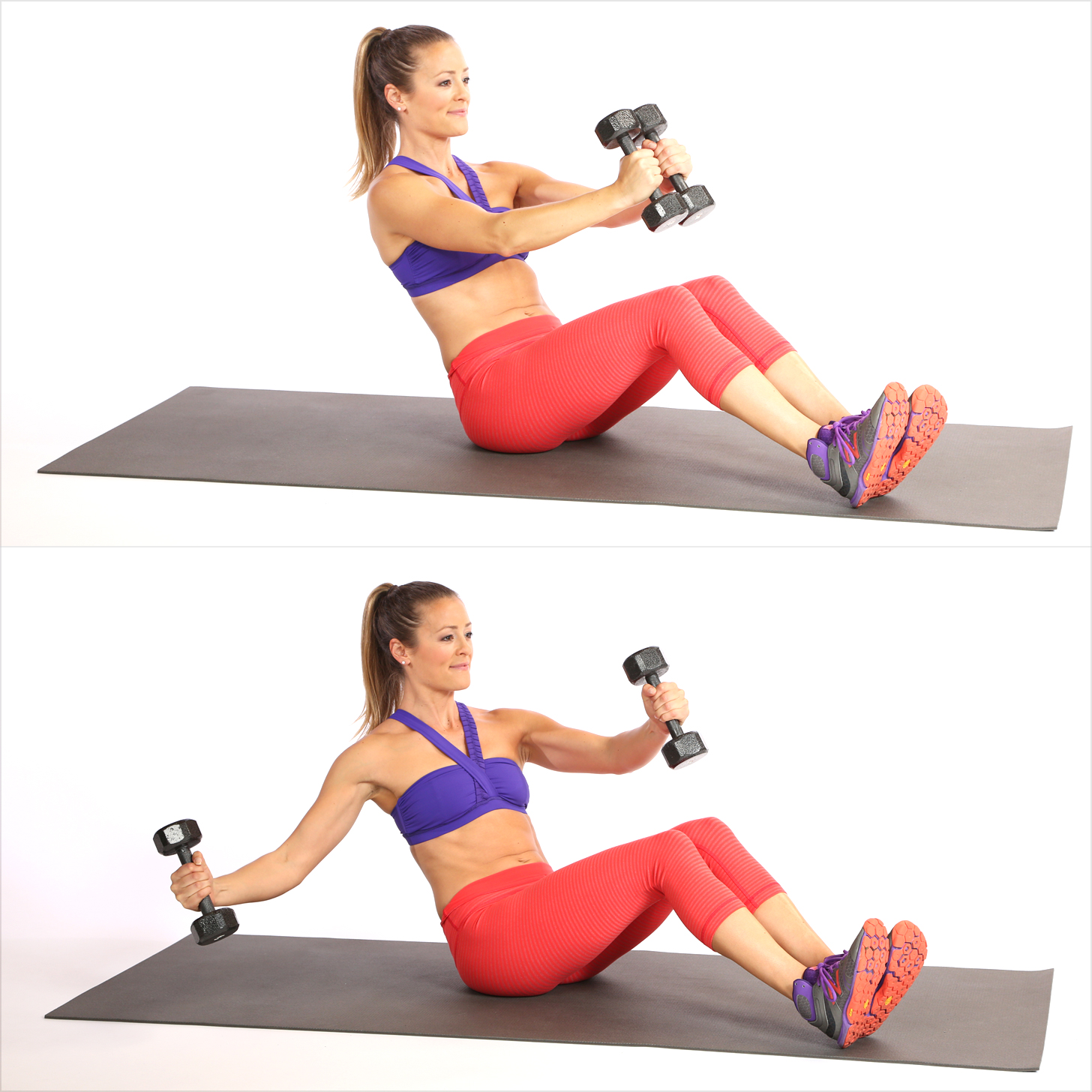 Circuit Three: V-Sit With Single Arm Chest Fly
