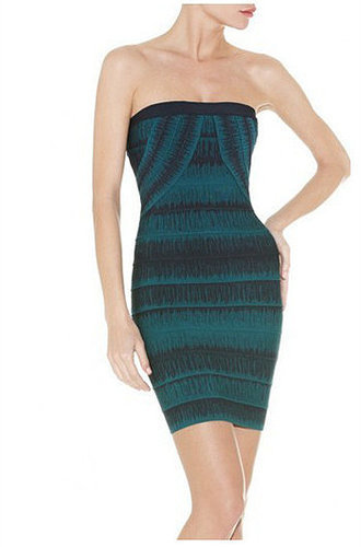 Green & Blue Color Print Bandage Dress