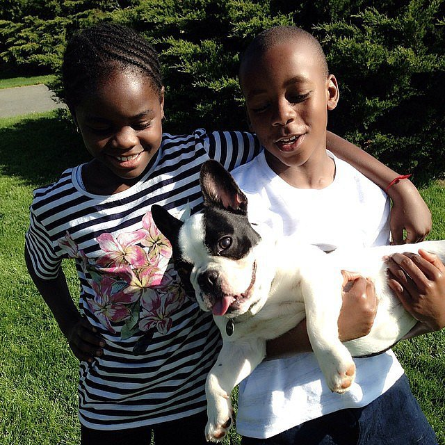 Madonna spent the day with her two youngest children, David Banda Mwale Ritchie and Mercy James — as well as their dog Olga! Source: Instagram user madonna