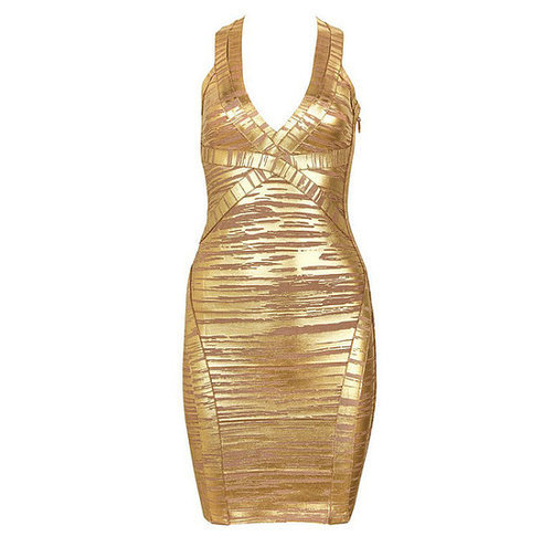 Deep V-Neck Gold Striped Foil Print Bandage Dress