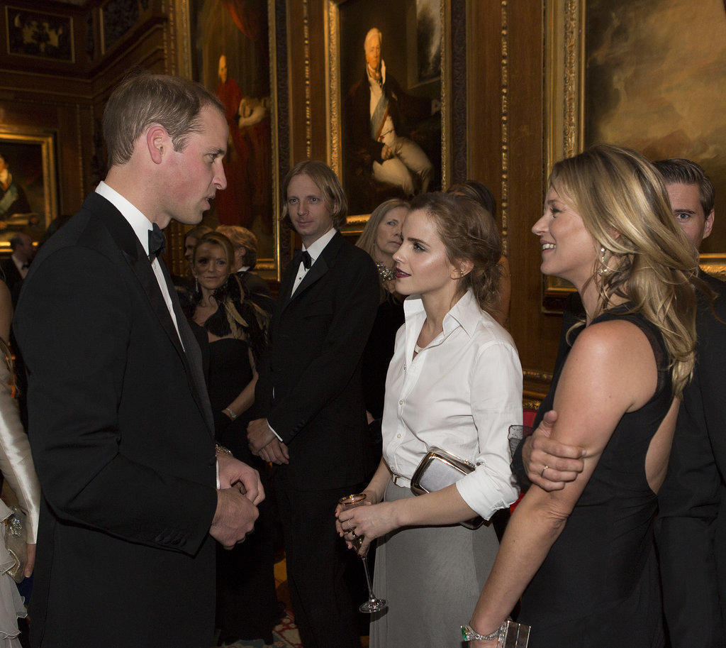 Prince William chatted with Emma Watson and Kate Moss at his charity dinner at England's Windsor Castle.