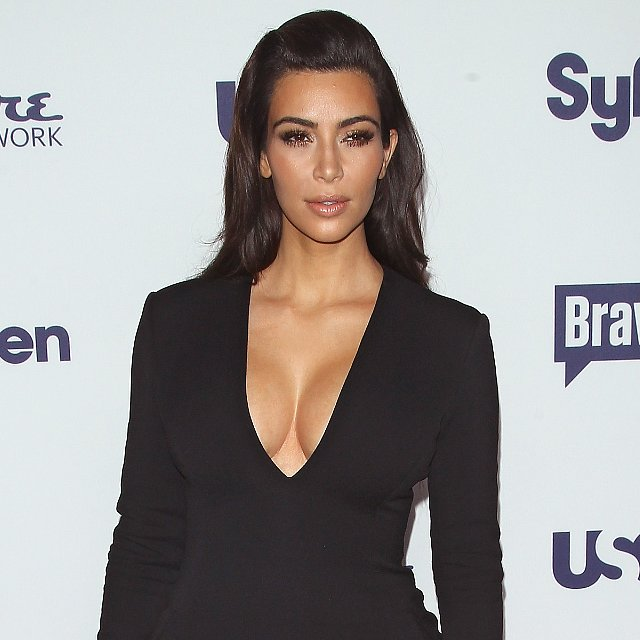 Kim Kardashian Sexy Slit Dress at Upfronts