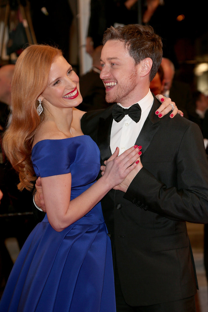 Jessica Chastain danced with James McAvoy on the red carpet for The Disappearance of Eleanor Rigby on Sunday.