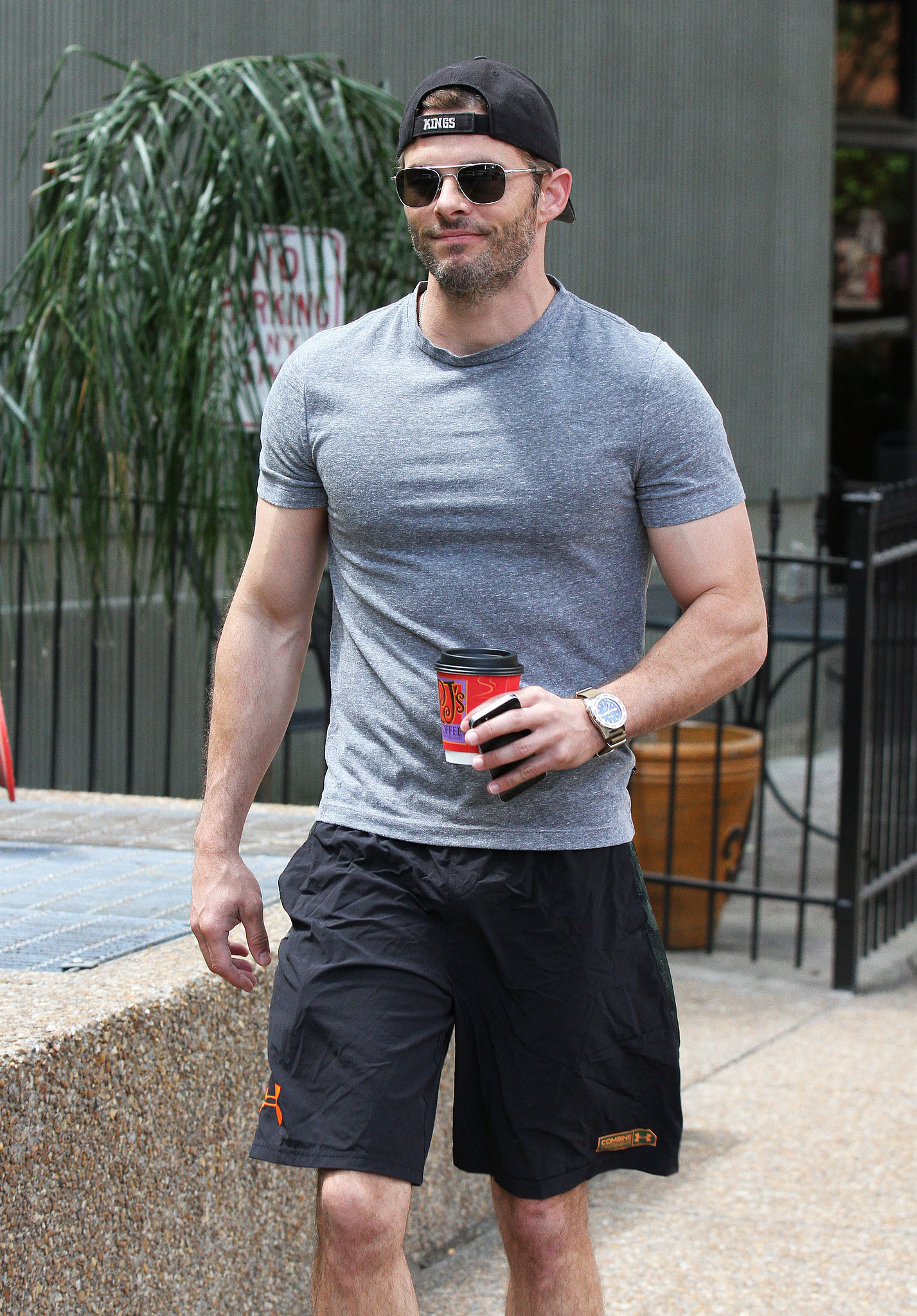 James Marsden looked primed for the gym during his coffee run in New Orleans on Friday.