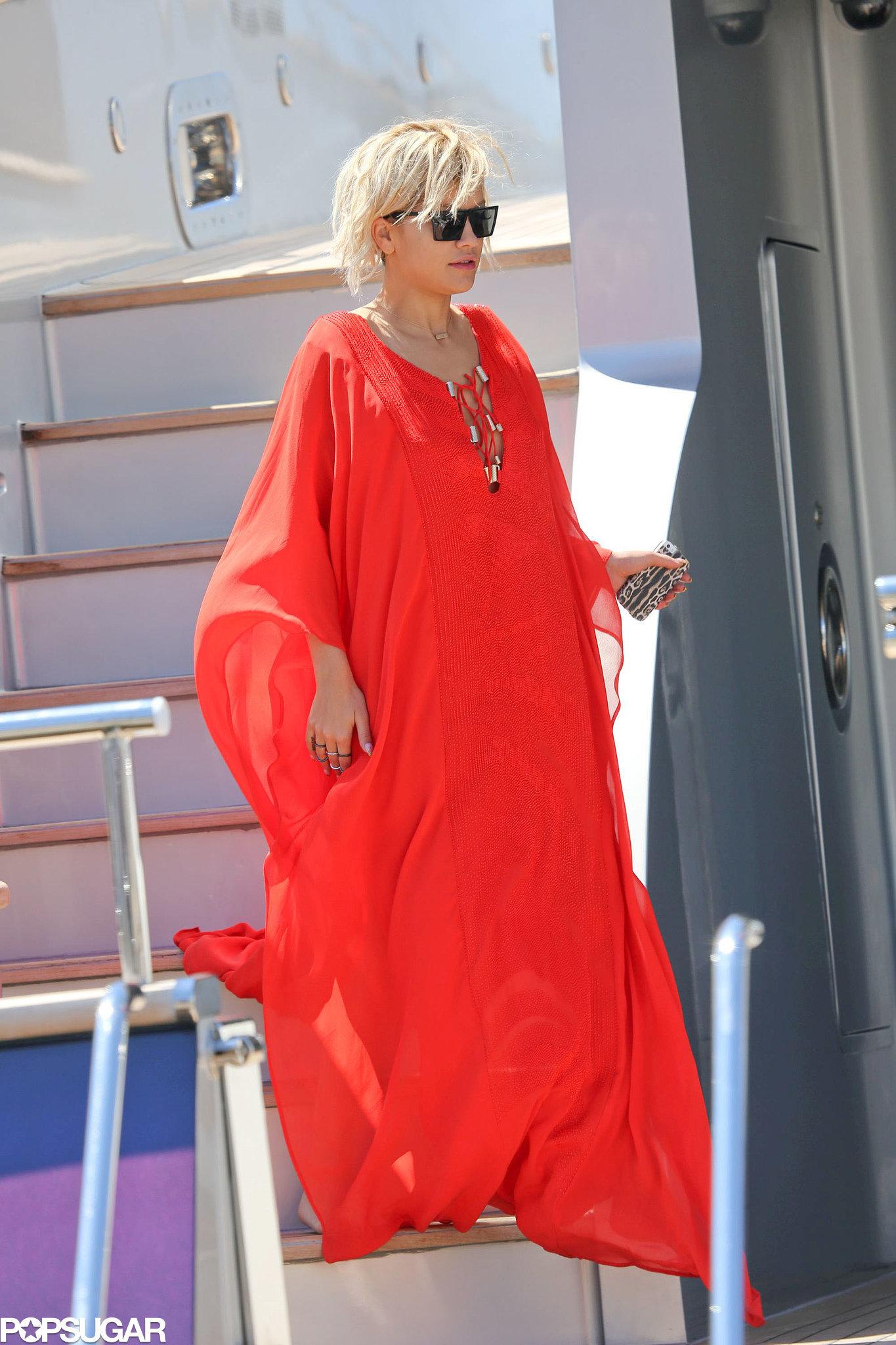 Rita Ora got comfy aboard Roberto Cavalli's yacht in Cannes, France, on Saturday.
